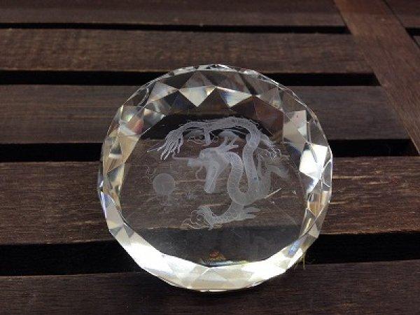 画像1: 文鎮 クリスタルガラス丸型 龍II (1)