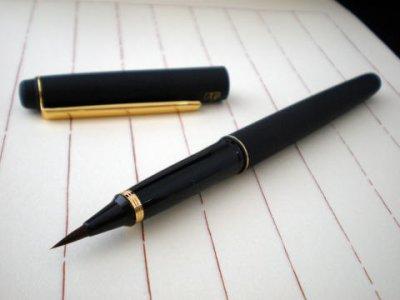 画像1: 呉竹万年毛筆 本毛 皮調 黒軸