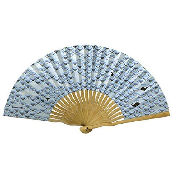 画像1: Komon+ 和紙扇子70型25間(青海波クジラ) (1)