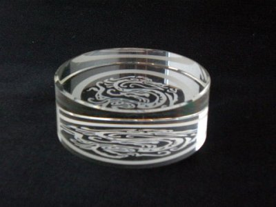 画像1: クリスタルガラス丸文鎮 玄武